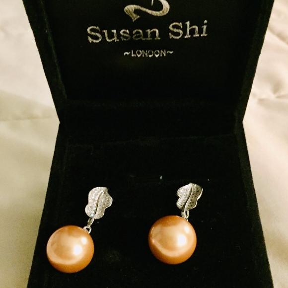 4b573eeca Susan Shi London Jewelry | Golden Laser Pearlsilver Drop Earrings ...